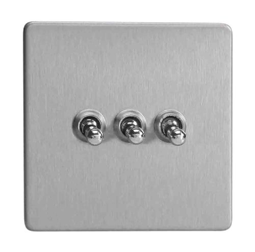 Varilight XDST3S Screwless Brushed Steel 3 Gang 10A 1 or 2 Way Toggle Light Switch
